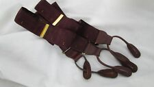 Maroon webbing Suspenders Braces Button On Green Gold Specks Brass Brn Leather