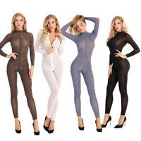 Women's Sexy Bodysuit Long Sleeves Zipper Body Stocking Sheer Lingerie Jumpsuit