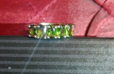 Green Russian Diopside 5 Stone Stack Ring 925 Sterling Silver TGW 1.25 cts.