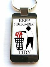 PORT VALE SUPPORTERS KEEP YOUR AREA TIDY BADGE KEYRING KEYFOB KEY FOB GIFT