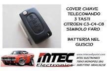 K12 Cover chiave telecomando 3 tasti Citroen C3-C4-C8 CON SIMBOLO FARO BATTERIA