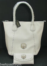 NEW-GUESS GARLAND WHITE LEATHERETTE`+SILVER TONE HARDWARE TOTE,BAG,PURSE,SHOPPER