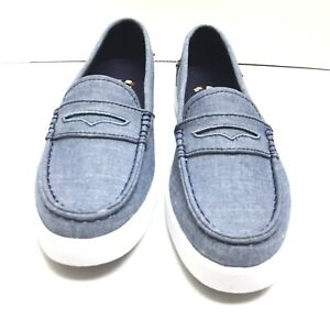 Cole Haan Womens Penny Loafers Blue Denim Canvas Slip On Nantucket Size 7 B Us
