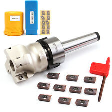 MT2 M10 & 50mm Face End Mill Cutter + 10pcs APMT1604 Carbide Insert Wrench CNC