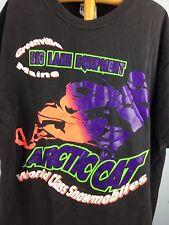 VTG Mens XL Arctic Cat T Shirt Neon Greenville Maine Snowmobile Sled Black