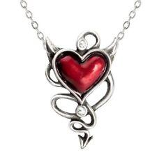 ALCHEMY RED DEVIL HEART PENDANT Pewter Necklace Swarovski Gothic +FREE GIFT BOX