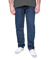 New Men's Rockford Stretch Denim Jeans Blue & Black Regular Straight Cut Zip Fly