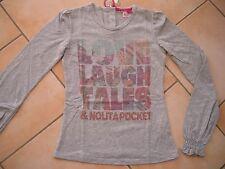 (C356) Nolita Pocket Girls Langarm Shirt Ballon Ärmel Logo Druck bestickt gr.152