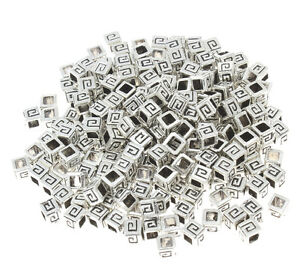 🎀 3 FOR 2 🎀 100 Antique Silver Ribbed Rectangle 5x4mm Spacer Beads 4 Jewellery