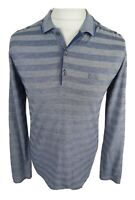 Mens Hugo Boss Long Sleeve Polo Shirt Blue Stripe Medium Vgc 40 Chest