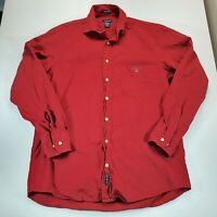 Gant Mens Red Tribeca Twill Long Sleeve Shirt Size M