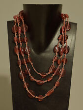 Necklace 3 Strand Oval Pink Glass Beaded Pink Cord Necklace