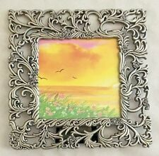 """Silvertone Metal Cut-Out 6.5X6.5"""" Frame Holds 4X4"""" Photo"""