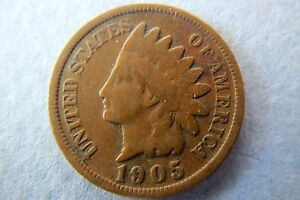 1905 INDIAN HEAD CENT> 1905 Vintage U.S. INDIAN HEAD BRONZE PENNY, Circulated