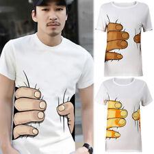 Unisex Men's Big Hand Printed Funny Catch You Cotton Short Sleeve T-shirt AU