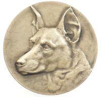 France dog GERMAN SHEPHERD Alsatian signed A.D. silvered-bronze 45mm