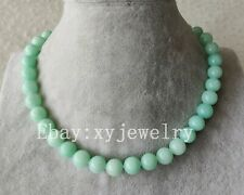 pretty 10mm light blue jade wedding party necklace 16-80 inch