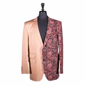 Mens Blazer Beige Paisley Jacket Wedding Sport Coat Handmade Designer Italy 42R