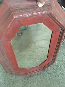"""Vintage  Large Wooden Framed Octagon Hanging Wall Mirror 24.5"""" x 17.5"""