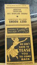 Rare Vintage Matchbook Cover Z8 Oregon Ontario Cozy Rooms Pin Up Girl Tease Back