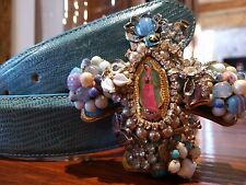 James Reid Turquoise Lizard Belt with Donna Marie Religious Hand Crafted Buckle