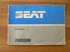 SEAT RONDA HANDLEIDING OWNER'S MANUAL 1983 CAR AUTO