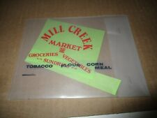 "O Scale Unbranded Decal? ""Mill Creek Market"", ""Groceries, Vegetables, Sundries"""