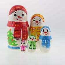 "Christmas snowman Wood Hand painted Russian Nesting Doll 5 pcs 4.2"" #7Sd"