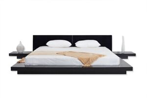 Fujian Modern Platform Bed 2 Night Stands King (Glossy Black)