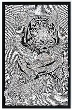 Adult Bengal Tiger as Coloring Book Image, Wilcat, Cat -- Modern Animal Postcard