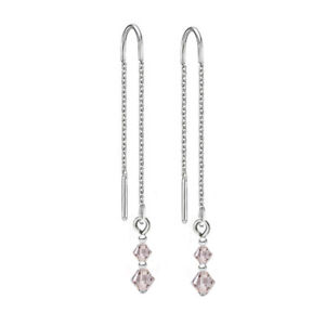 925 Sterling Silver Pull Thread Earrings SILK Crystals from Swarovski®