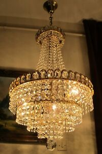 Antique Vnt. French Basket style swarovski Crystal Chandelier Lamp Light 1960's.