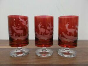 Vintage Claus Josef Riedel Red Cordial Short Stem Glasses x 3 Stamped