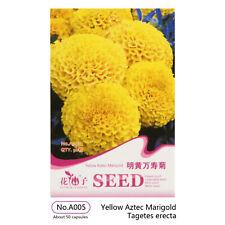50 Marigold Seeds Lemon Yellow Aztec Marigold Seeds
