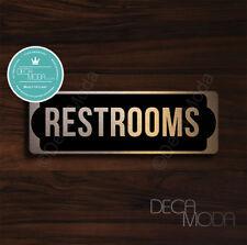 Restrooms Door Sign, Brushed Copper Finish Restrooms Door Sign, 9 x 3 inches