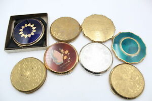 8 x Vintage Ladies Vanity STRATTON Compacts Inc Boxed, Enamel, Gold Tone Etc