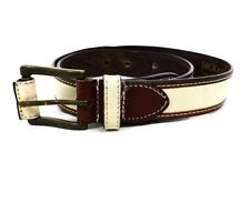 Jack and Jones Studio Leather and Canvas Belt Brown / Beige Size M