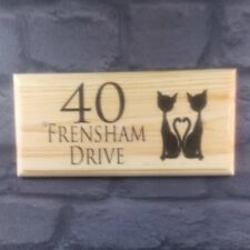 Personalised Cats House Name Plaque / Sign - Number Kittens Home Garden Door