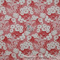 BonEful Fabric FQ Cotton Quilt Cream Red Pink Flower Rose Shabby Chic Cottage US