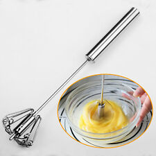 1x Manual Self Turning Stainless Steel Miracle Push Whisk Mixer Egg Beater~9