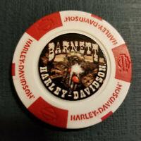 BARNETT HD ~ Texas ~ (Full Color White/Red) Harley Davidson Poker Chip
