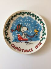 Schmid Peanuts 1972 Snoopy & Woodstock Sleigh Christmas Plate! Free Shipping