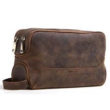 Men's Genuine Leather Dual Zip Shaving Toiletry & Travel Bag Dopp Kit Organizer
