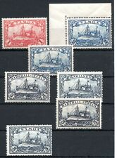 GERMAN COLONIES ,  SAMOA and MARSHALLS , 1 - 3 Marks , SEVEN STAMPS , MNH !