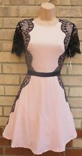 MISSGUIDED PINK NUDE BLACK LACE SIDES SHORT SLEEVE SKATER PROM PARTY DRESS 10 S