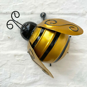 Gold 3D Bumble Bee Bug Summer Home Garden Fence Gate Decoration Wall Ornament