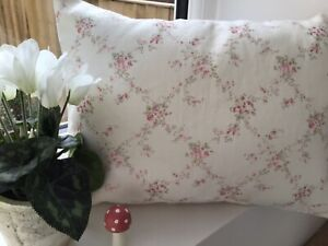 Peony and Sage Giardino linen cushion cover with Ivory linen plain back 30x40cm