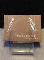 SILPADA P2066 Sterling Silver 925 CZ Half Hoop Post Earrings. Rare Vintage EUC