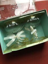 Vintage Bride & Groom Champagne Glasses Wedding Slipper Style Gift