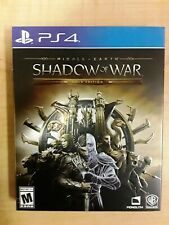 PLAYSTATION 4 PS4 MIDDLE EARTH SHADOW OF WAR GOLD WB W/ STEELBOOK CASE NO CODES